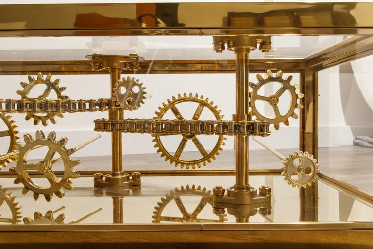 Brass and Lucite Display Coffee Table with Moving Gears For Sale 9