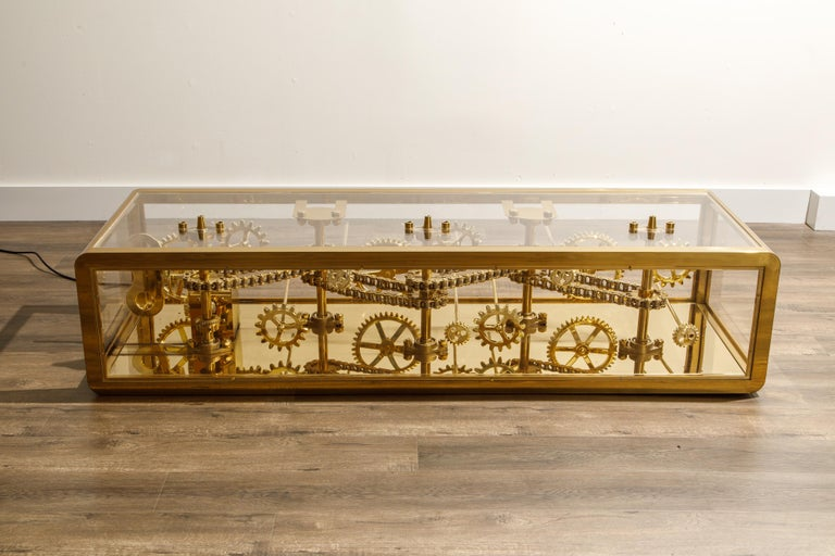 Steampunk Brass and Lucite Display Coffee Table with Moving Gears For Sale