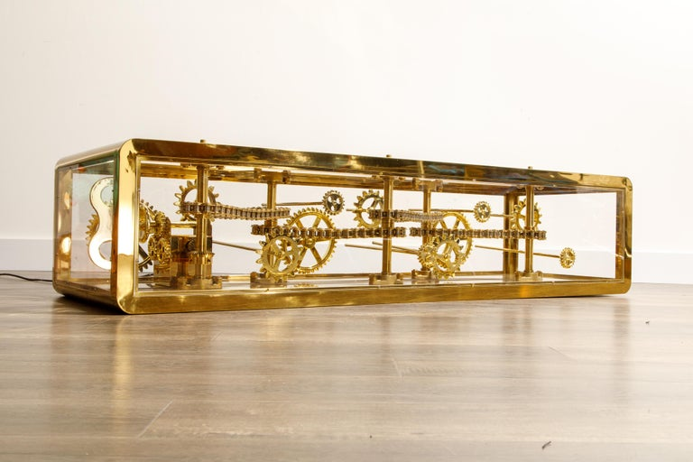 American Brass and Lucite Display Coffee Table with Moving Gears For Sale