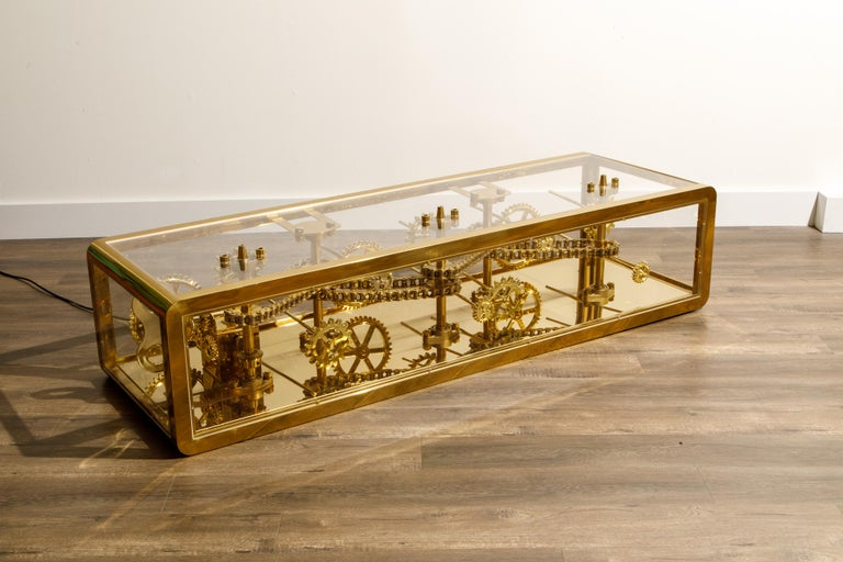 Brass and Lucite Display Coffee Table with Moving Gears In Good Condition For Sale In Los Angeles, CA