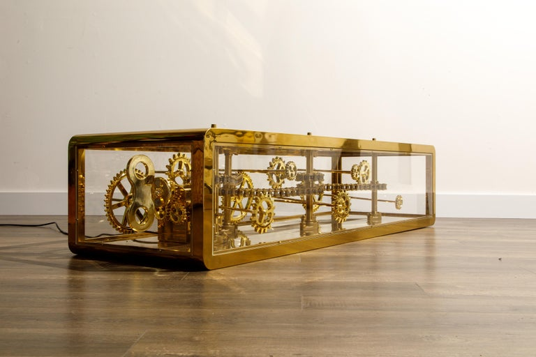 Contemporary Brass and Lucite Display Coffee Table with Moving Gears For Sale