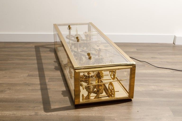 Brass and Lucite Display Coffee Table with Moving Gears For Sale 2