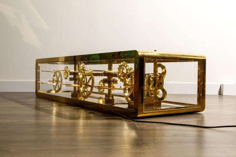 Brass and Lucite Display Coffee Table with Moving Gears For Sale 3