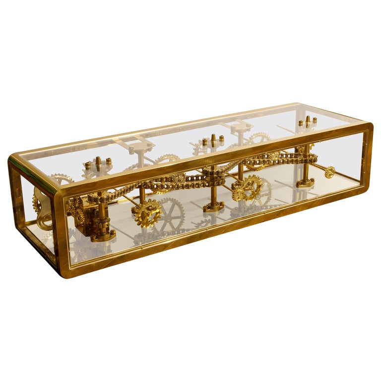 Brass and Lucite Display Coffee Table with Moving Gears For Sale