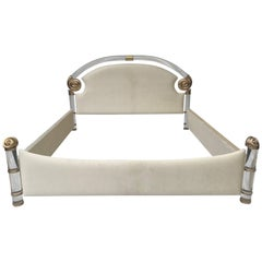 Brass and Lucite King-Size Bed by Marcello Mioni