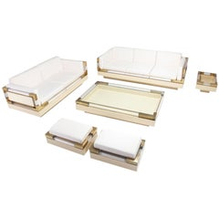 Brass and Lucite Living Room Set by Charles Hollis Jones
