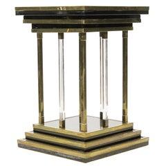 Brass and Lucite Modernist Pedestal