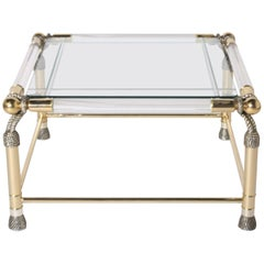 Brass and Lucite Rope Motif Table, circa 1950