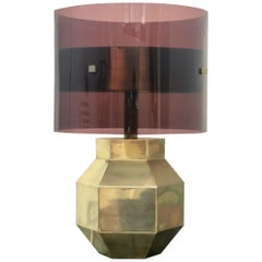 Brass and Lucite Table Lamp Hexagonal Base, 1970s, Italy