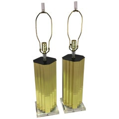 Brass and Lucite Table Lamp, Pair