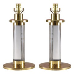 Brass and Lucite Table Lamps, Gabriella Crespi