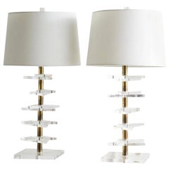 Brass and Lucite Table Lamps, Pair