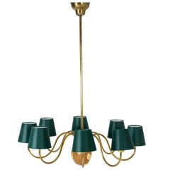 Brass and Mahogany Chandelier by Hans Bergström for Ateljé Lyktan, Sweden, 1950s