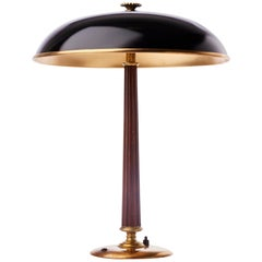 Brass and Mahogany Table Lamp by Böhlmarks, Sweden, 1940