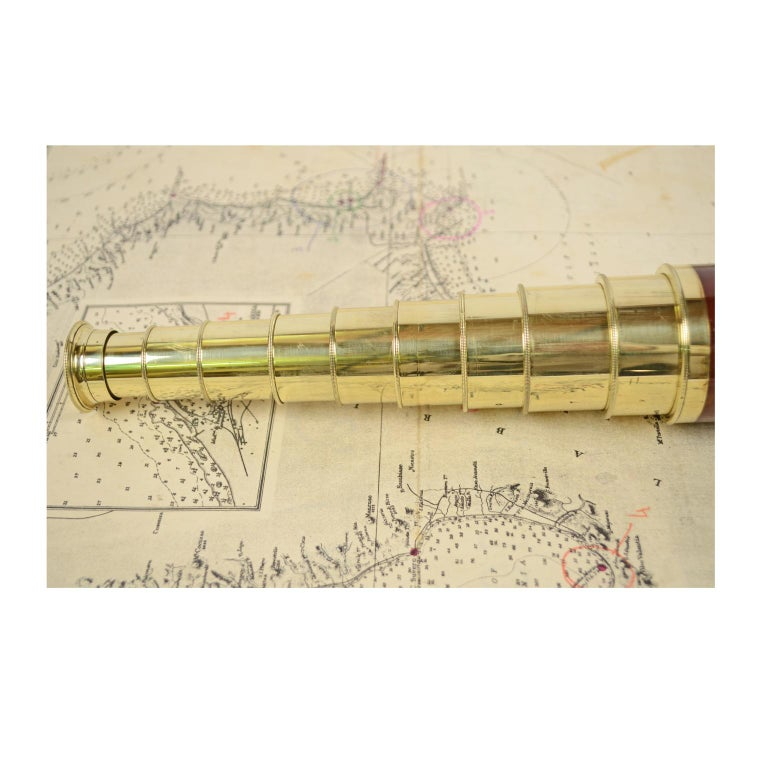 Brass and Mahogany Telescope with Nine Extensions, France, Mid-1800s For Sale 7