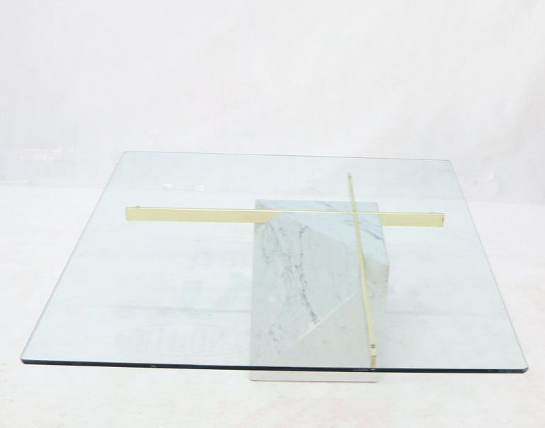 Mid-Century Modern marble and brass base large square glass top coffee table.