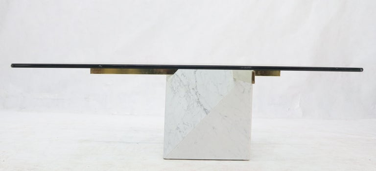Mid-Century Modern Brass and Marble Base Glass Top Square Coffee Table For Sale