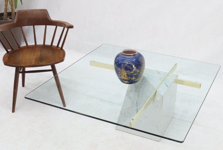 Italian Brass and Marble Base Glass Top Square Coffee Table For Sale