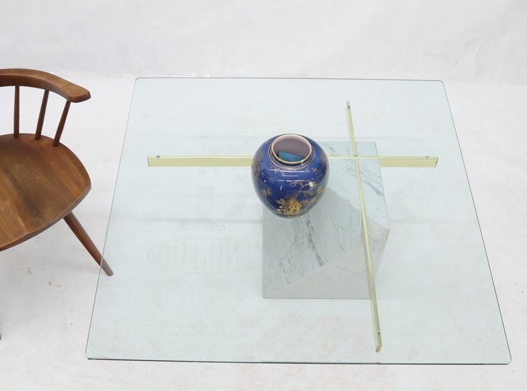Brass and Marble Base Glass Top Square Coffee Table In Good Condition For Sale In Rockaway, NJ