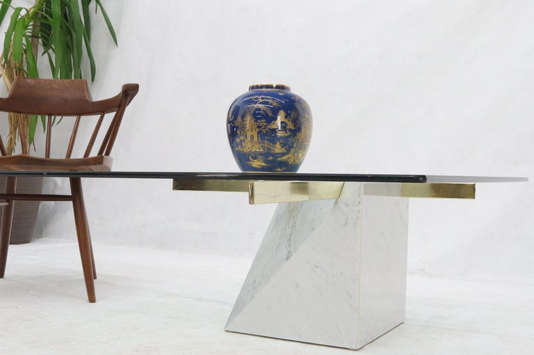 20th Century Brass and Marble Base Glass Top Square Coffee Table For Sale