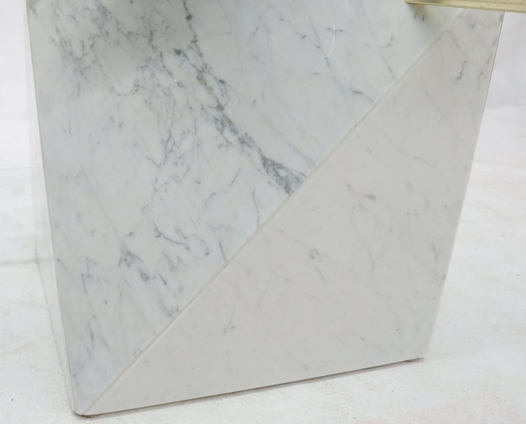 Brass and Marble Base Glass Top Square Coffee Table For Sale 1
