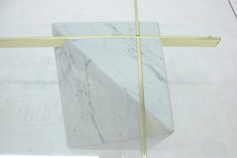 Brass and Marble Base Glass Top Square Coffee Table For Sale 3