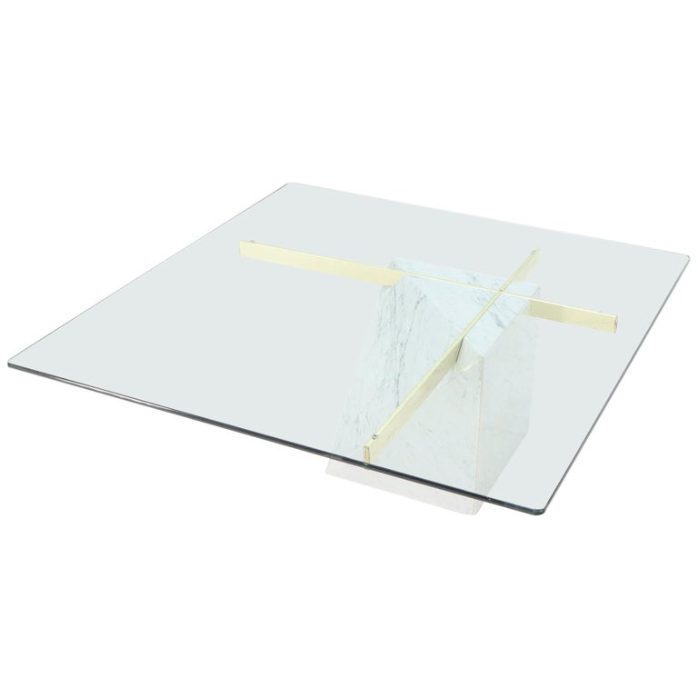 Brass and Marble Base Glass Top Square Coffee Table For Sale