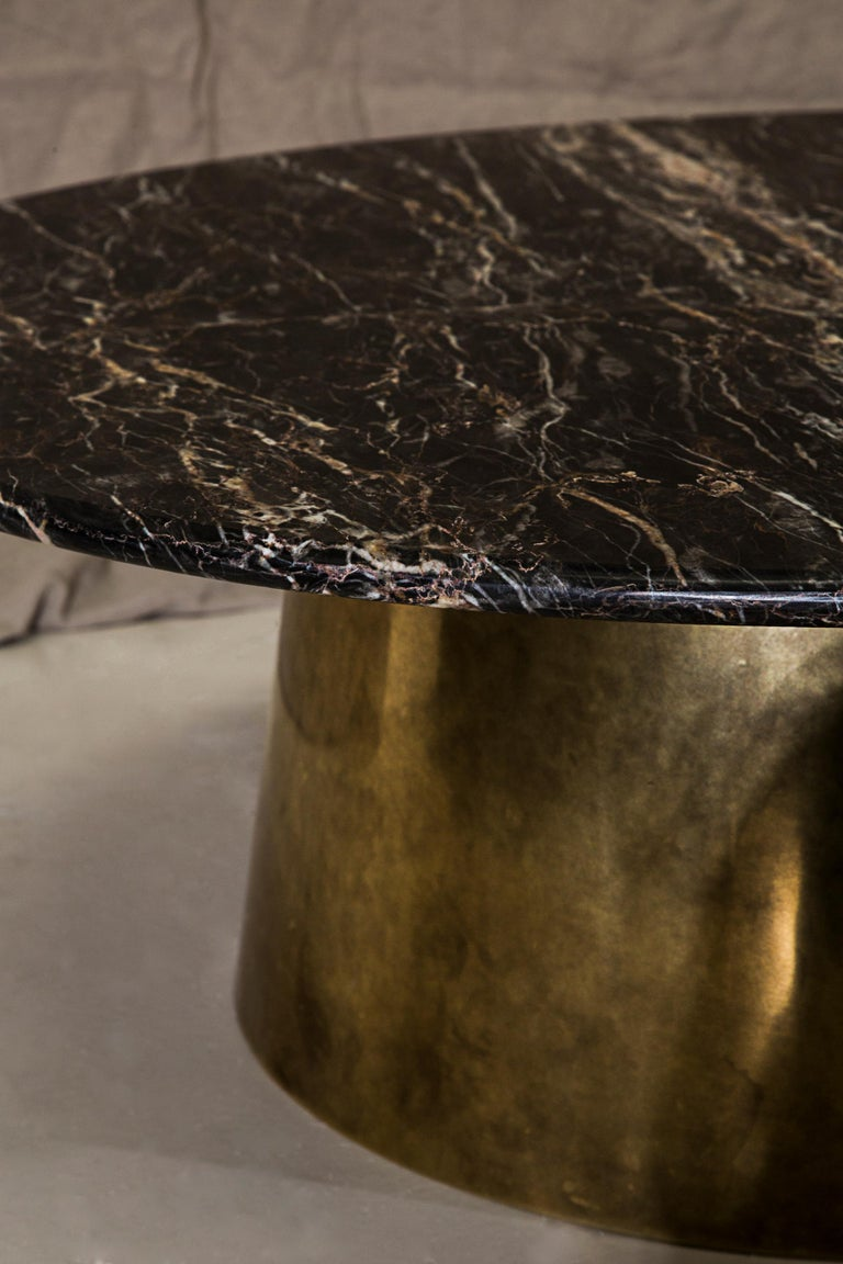 Brass and marble coffee table signed by Novocastrian