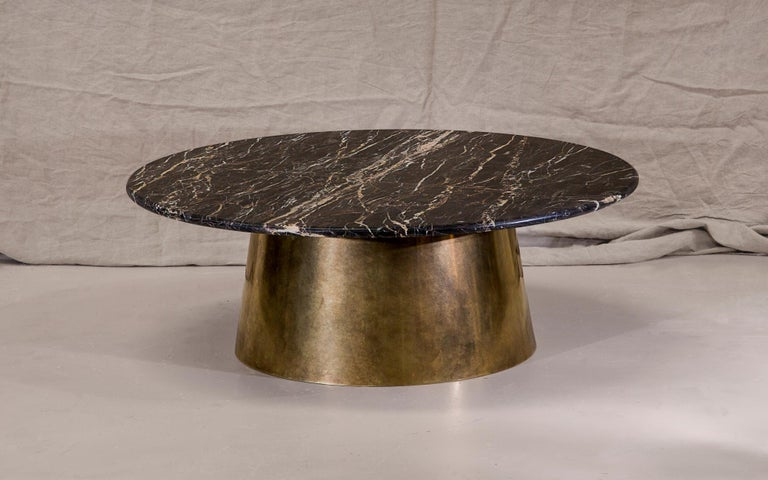 Modern Brass and Marble Coffee Table Signed by Novocastrian For Sale