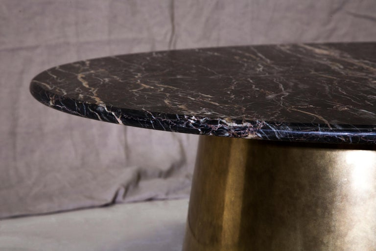 English Brass and Marble Coffee Table Signed by Novocastrian For Sale