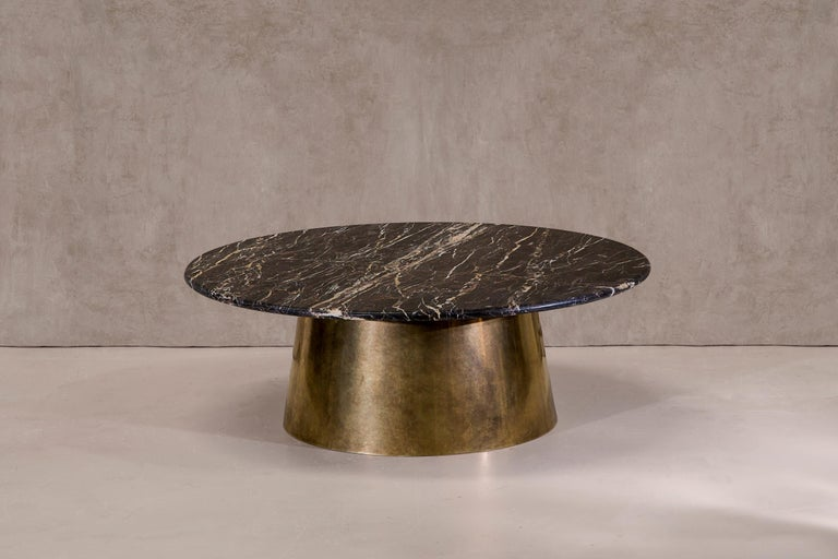 Brass and Marble Coffee Table Signed by Novocastrian For Sale 1