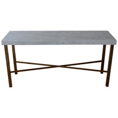 Brass and Marble Console Table, 1970s