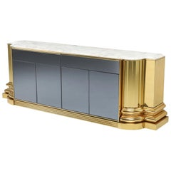 Brass and Marble Credenza by Sandro Petti for l'angelometallarte