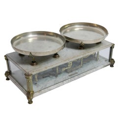 Brass and Marble Culinary Balance Scale with Nickel Silver Weigh Pans