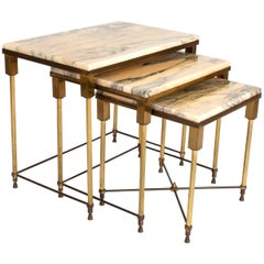Brass and Marble Nesting Tables by Maison Jansen, France, circa 1940