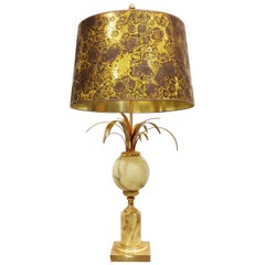 Brass and Marble Pineapple Leaf Table Lamp, 1960s