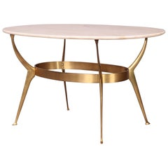 Cesare Lacca Brass and Marble Side Table