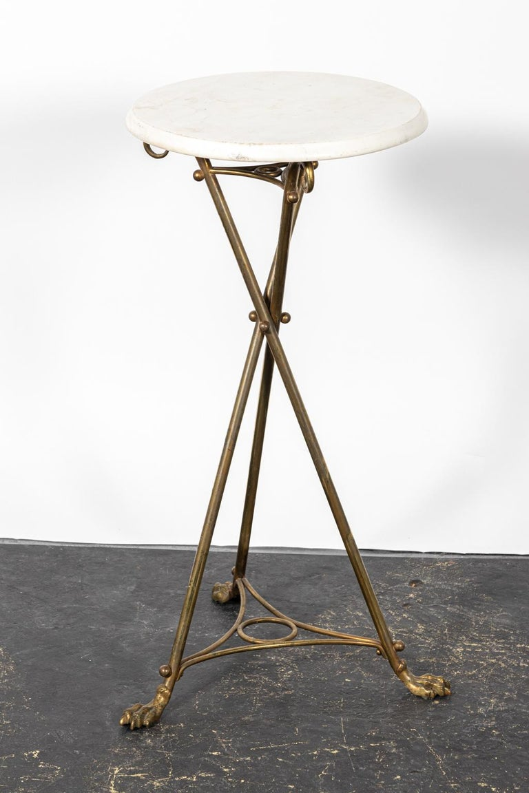 20th Century Brass and Marble-Top Tripod Side Table For Sale