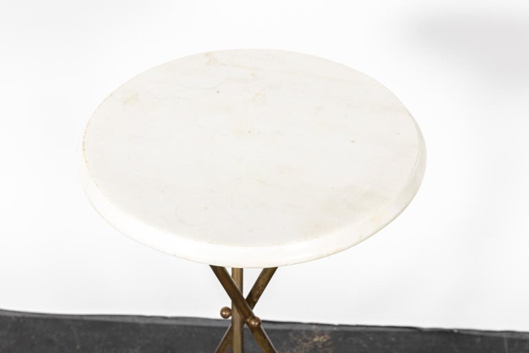 Brass and Marble-Top Tripod Side Table For Sale 1