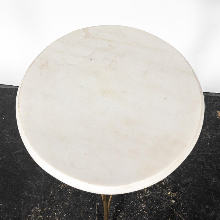 Brass and Marble-Top Tripod Side Table For Sale 2