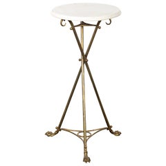Brass and Marble-Top Tripod Side Table