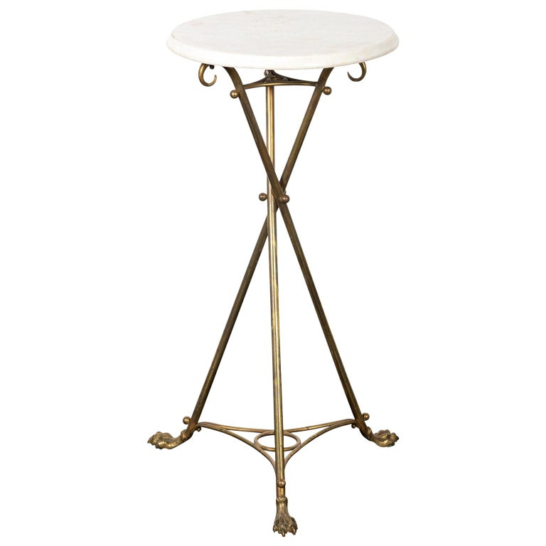 Brass and Marble-Top Tripod Side Table For Sale