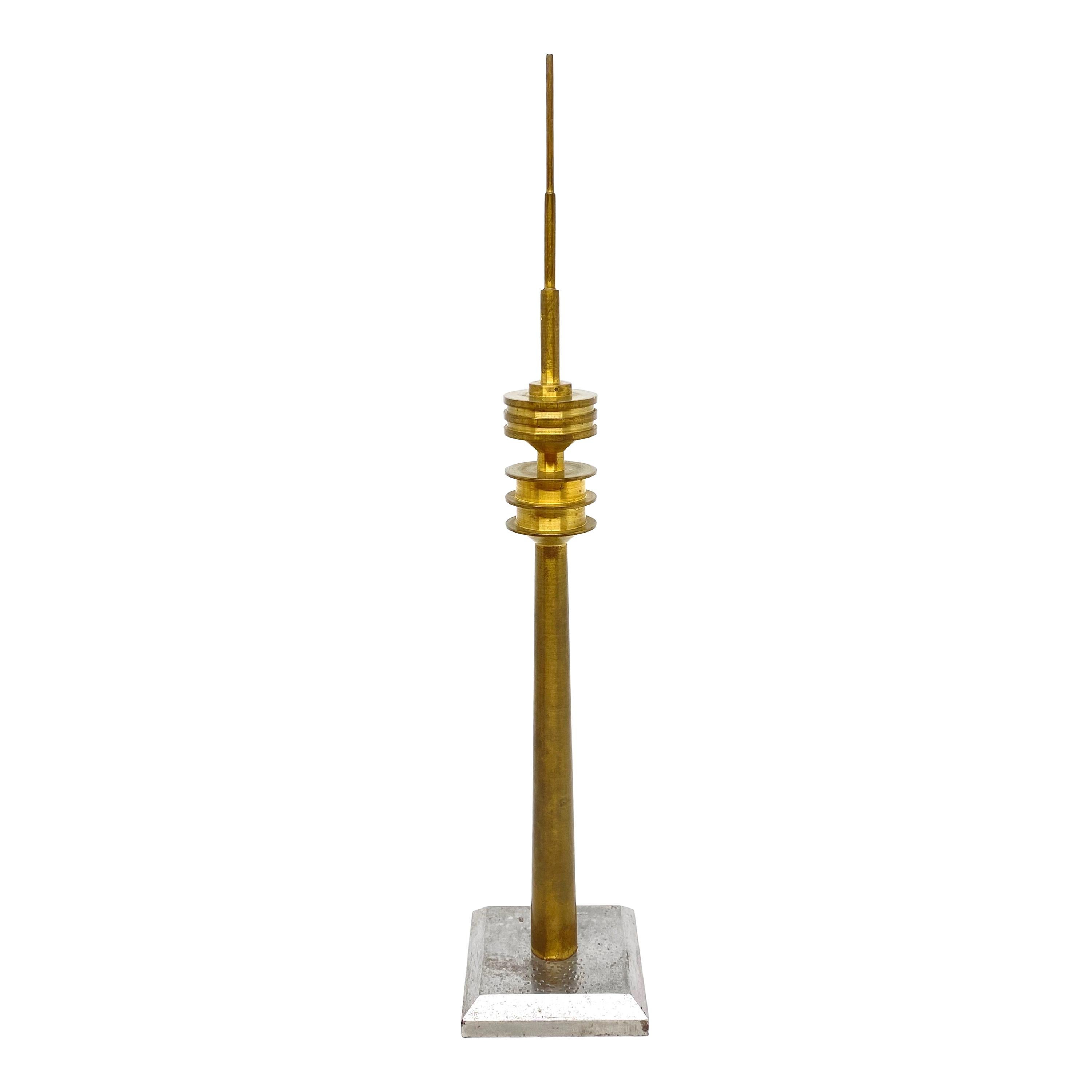 Brass and Metal Munich TV Television Tower Scale Design Model, 1970s
