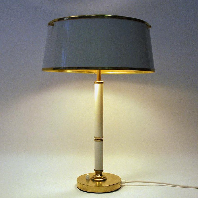 Scandinavian Modern Brass and Metal Table Lamp by Borèns, Borås, 1960s, Sweden For Sale