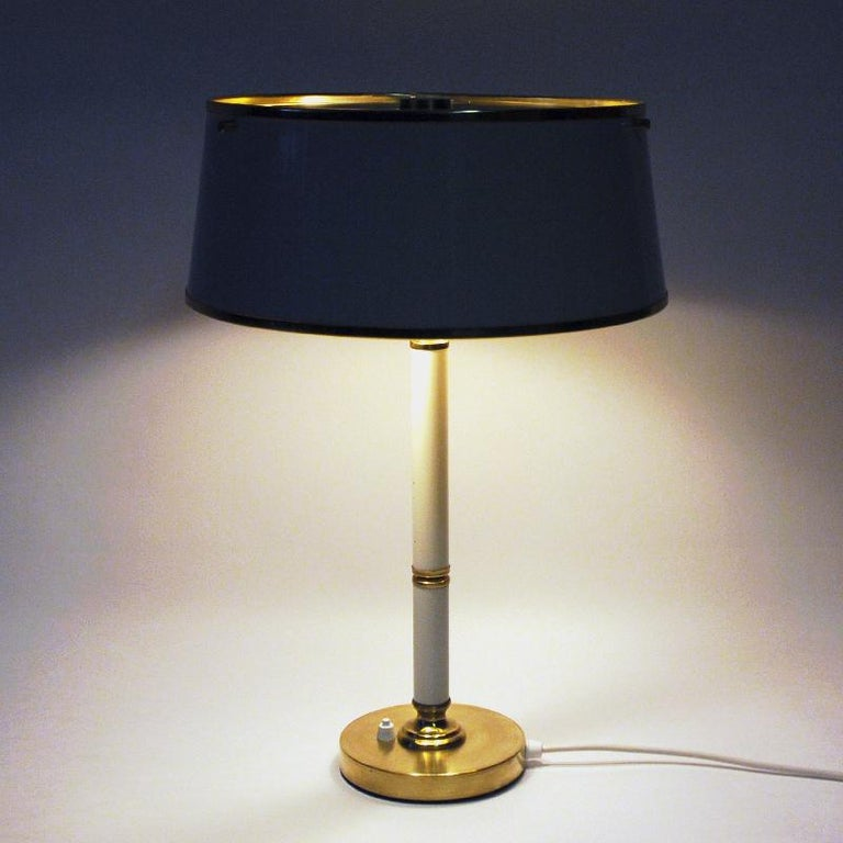 Swedish Brass and Metal Table Lamp by Borèns, Borås, 1960s, Sweden For Sale