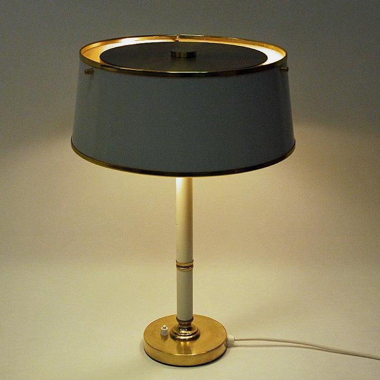 Lacquered Brass and Metal Table Lamp by Borèns, Borås, 1960s, Sweden For Sale