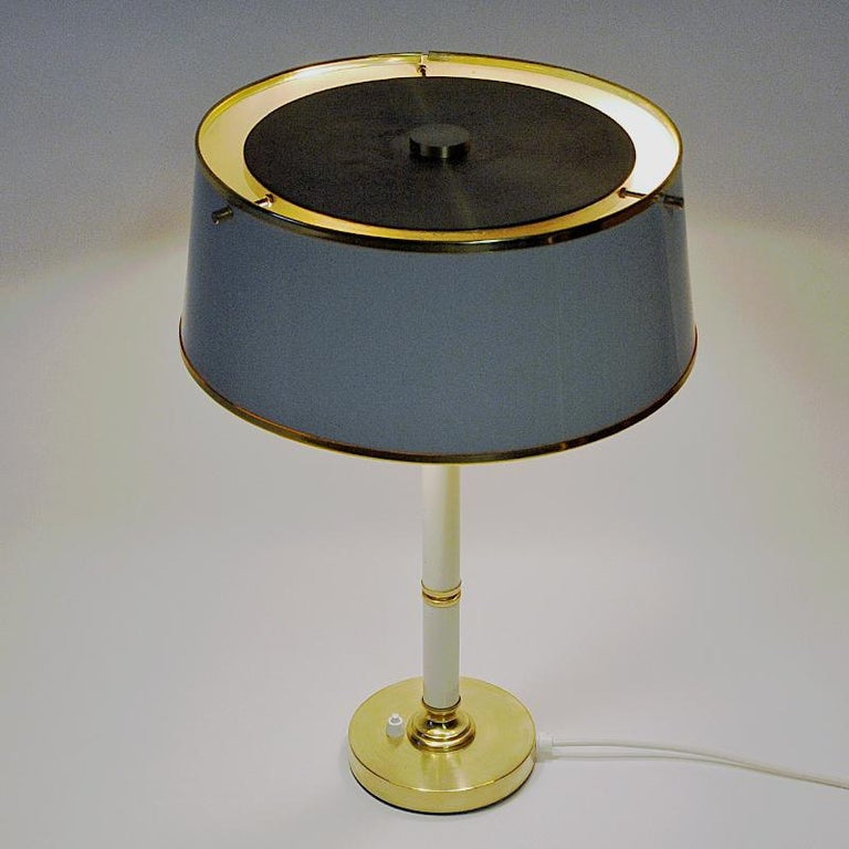 Brass and Metal Table Lamp by Borèns, Borås, 1960s, Sweden In Good Condition For Sale In Stockholm, SE