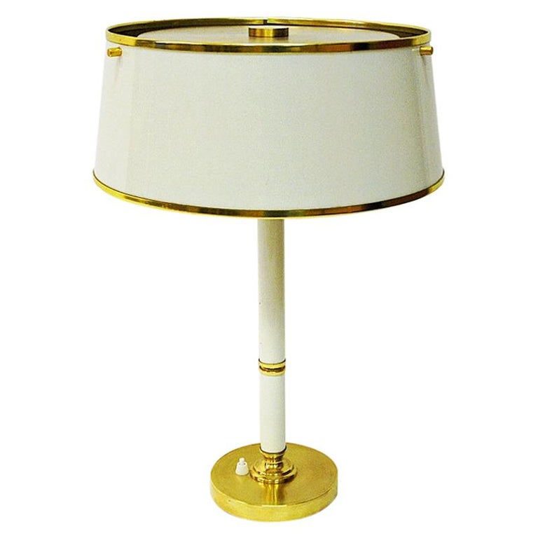 Brass and Metal Table Lamp by Borèns, Borås, 1960s, Sweden For Sale