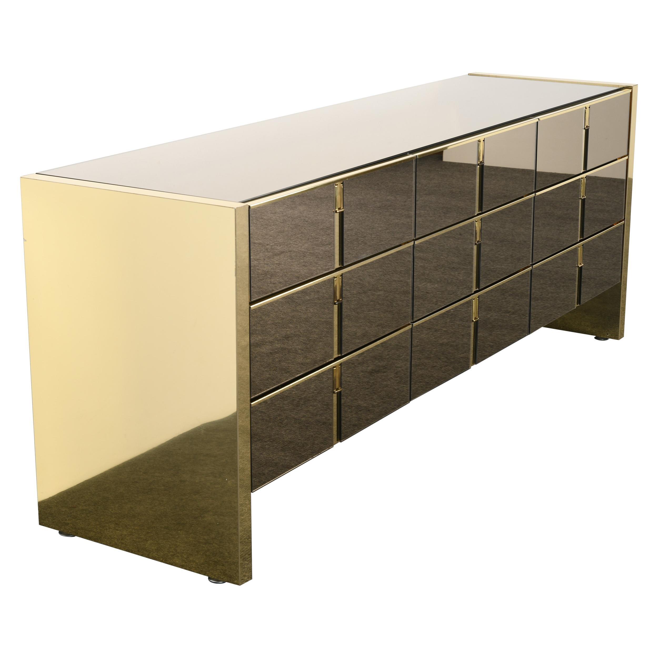 Brass and Mirror Front Dresser by Ello, 1980s