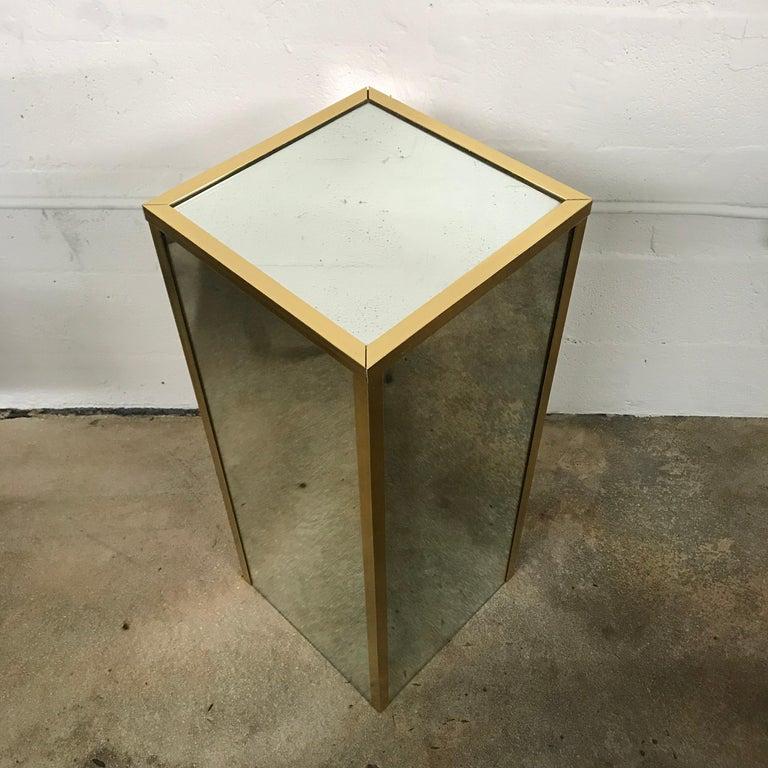 Mid-Century Modern Brass and Mirror Pedestal